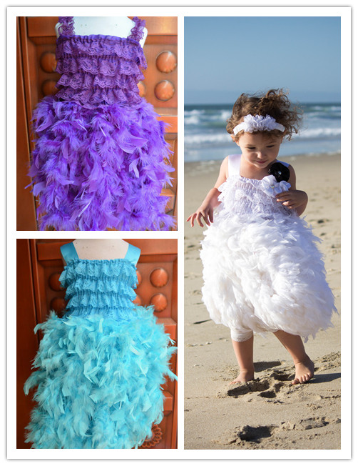 Fahion 2013 new design hollday dresses infant lace top evening dresses Girls birthday party feather lace dress