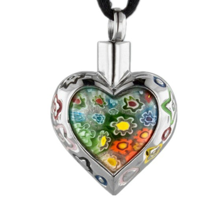 Murano Glass Flower Heart Pendant Urn Necklace Memorial Keepsake Cremation Ashes Jewelry
