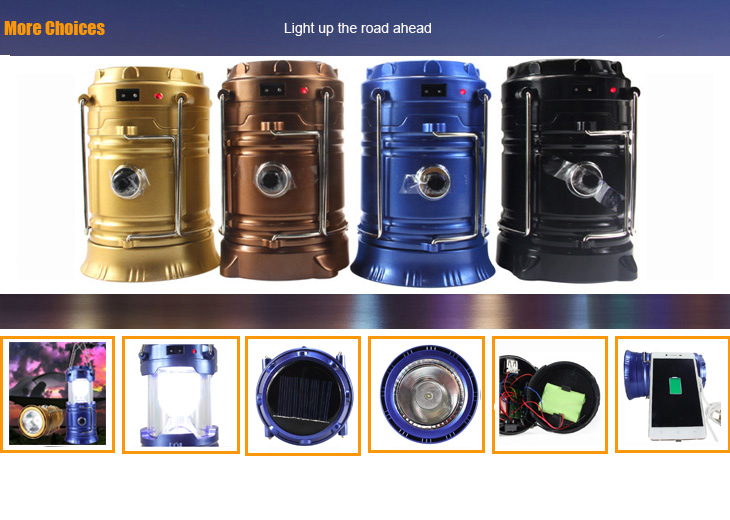 Outdoor 6 LED 36 Led Solar Lantern with USB 5V mobile phone charger