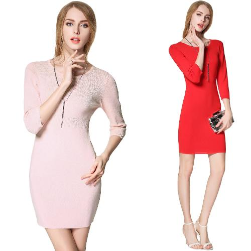 New Europe Women Knitted Dress O Neck 3/4 Sleeve Solid Color Slim Elegant Bodycon OL Dress Knitwear Pink/Red