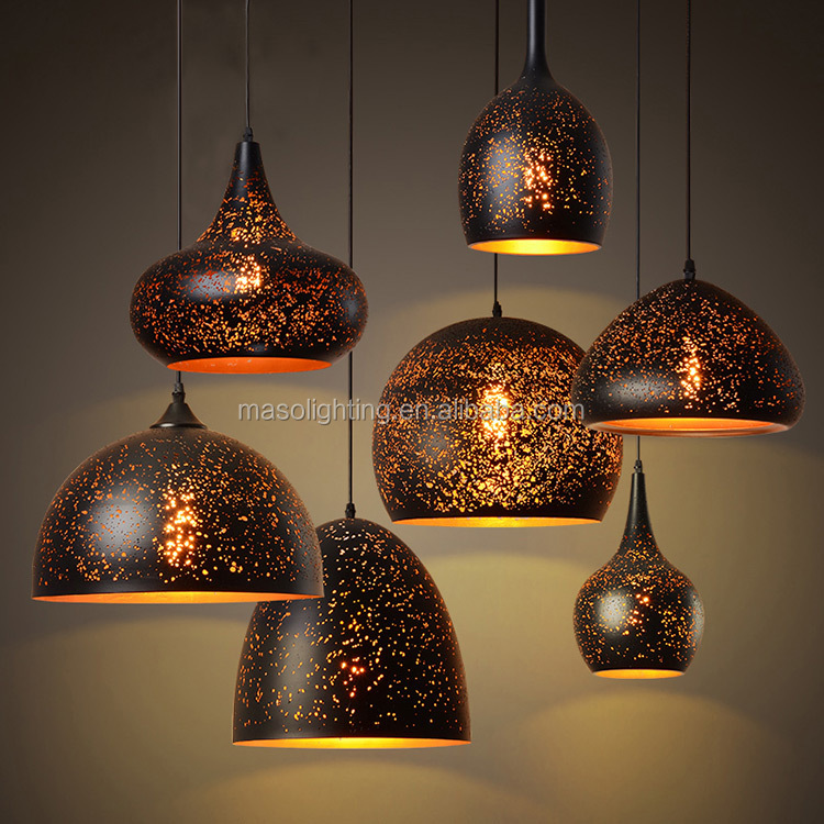 Nordic Hollow Skyline Pendant Lamp Bar Counter Resturant Cast Iron Hanging Light Art stylish Dome light fixture for decor