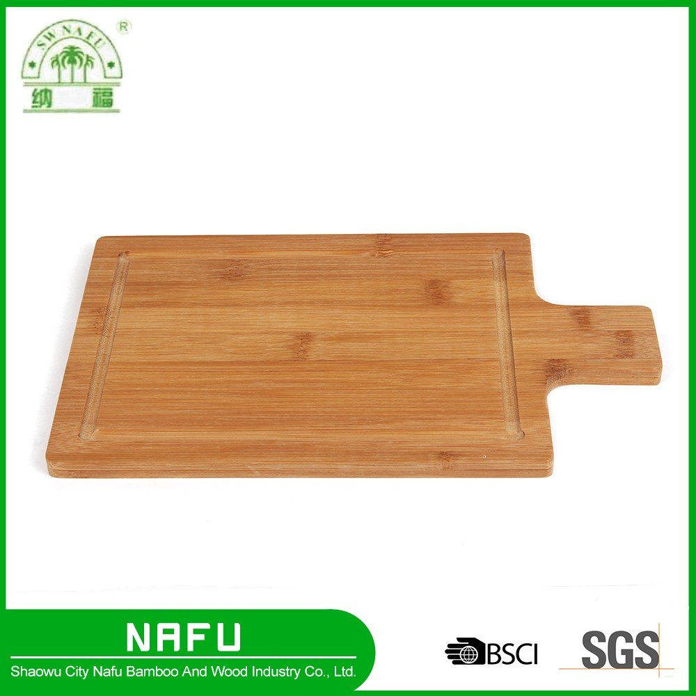 Wholesale organic bamboo kitchen cutting board with handle