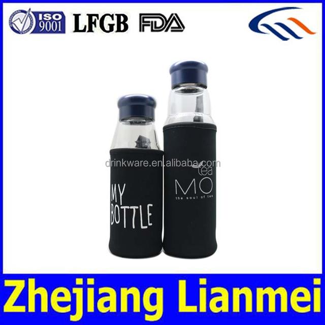Popular crystal water bottle, glass bottle for mineral water ,420ml 550ml fruit infuser sports drinkware