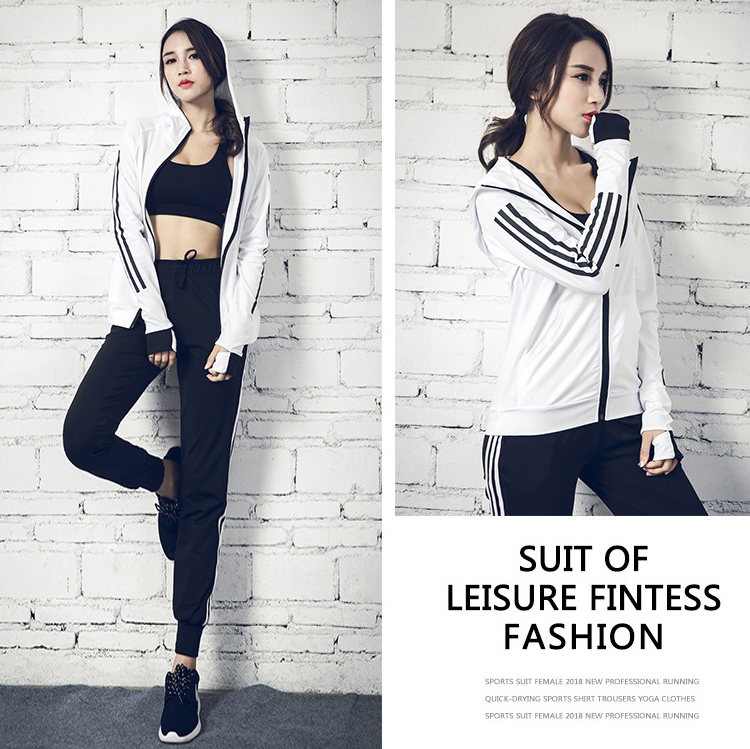 Hot Sell Girl's New White And Black Casual Loose Yoga 3 Pieces Sets Sports Bar/Pants/Long Sleeve Coat