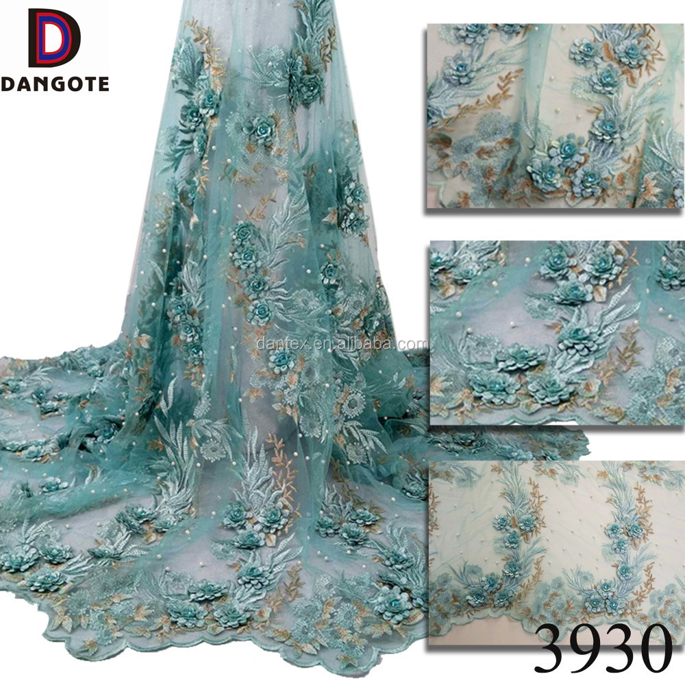 Hot selling beaded lace applique /mint green 3d lace fabric for party dress of 3930