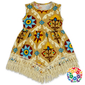 Sleeveless Children Frocks Designs Flower Pattern Cotton Dress Designs Teenage Girls