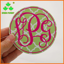 "4"" round monogram car magnet"