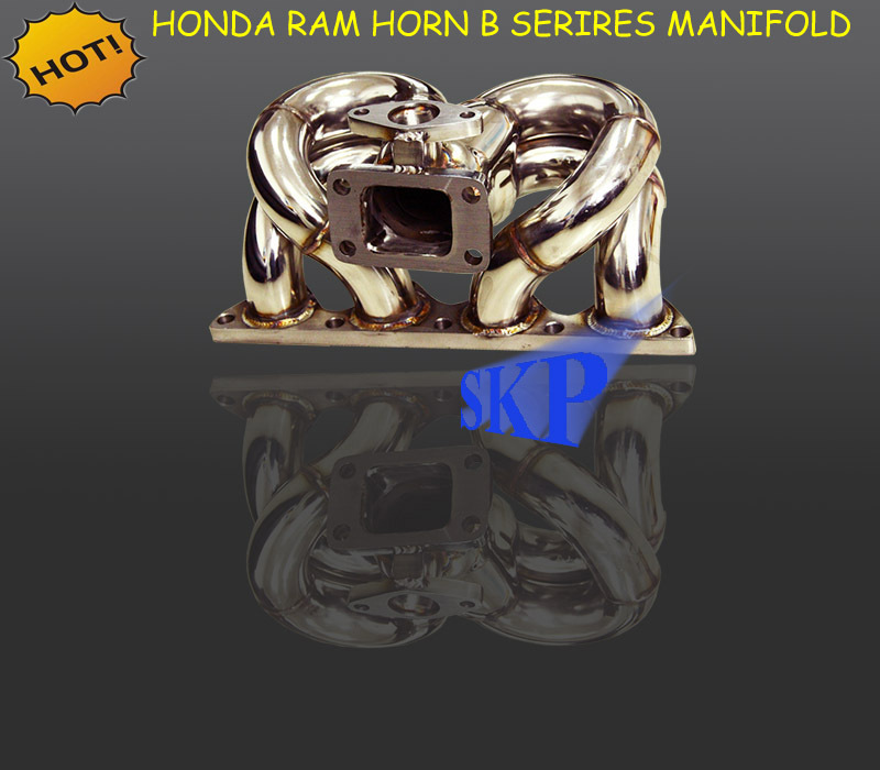 STAINLESS STEEL T3 RAM HORN TURBO MANIFOLD FOR HON*DA B SERIES B16A B18B EG EM1 DC