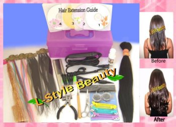 Hair Extensions Kit + VCD Training 4 Techniques