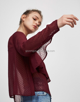 Chic Convex dot lace flouncing loose round neck long sleeve tops China factory