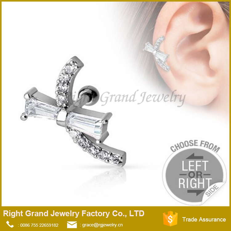 Unique Tragus Barbell Jewelry CZ Gem Cross Ear Tragus Studs Jewelry