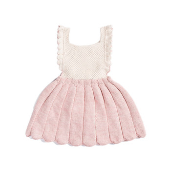 YAYA BABY 2017 baby new design knitted pink girl winter frock