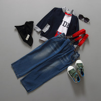 wholesale European And America Style handsome boy clothing sets T-shirt jacket pant 3pcs kid suit