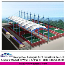 Cheap membrane fabric roof canopy structure for tennis court