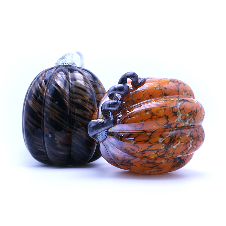 According your design custom high quality multi color and style halloween pumpkin glass decoration pieces christmas decoration f