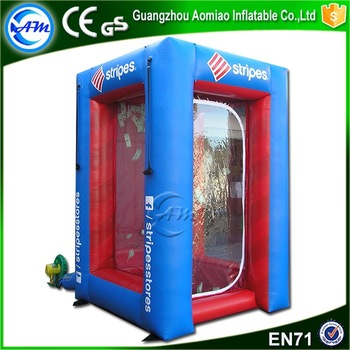 Popular advertising inflatable money machine grabber box inflatable cash cube
