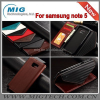 Cell phone cover For Samsung Note 5 Magnetic PU Leather wallet case Flip Envelope style with Stand Card slot Case