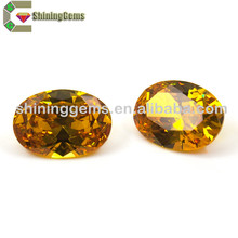 Factory direct sale triangle shape cz gemstones synthetic price champagne gemstone