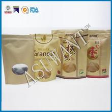 stand up Clear window Kraft paper zipper pouch for snack,dried fruit,nuts,ziplock standing bag