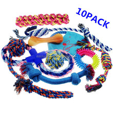 Funny Gift Pet Cat Dog Toy Set For Medium To Small Doggie Fashion Mix Chew Cotton Rope Dog Toys 10 Pack
