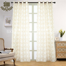 Polyester faux silk Geometric Printed Eyelet Curtain Drapery