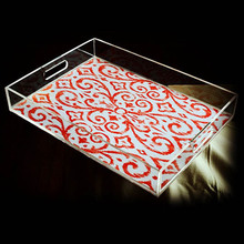 Clear Acrylic Tray Breakfast Tea Coffee Table Serving Trays with Handles and Flyer Insert