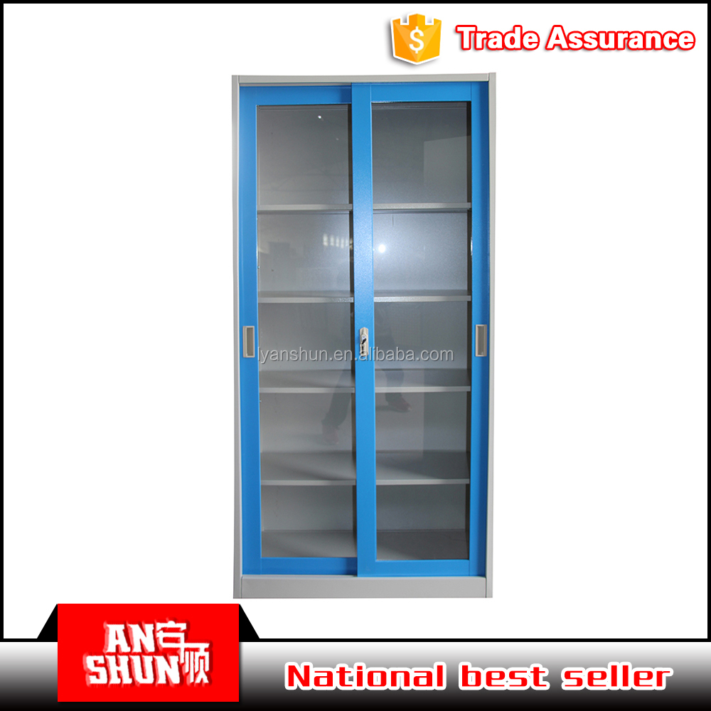 Vertical blue steel glass door sliding file cabinet with CKD packing