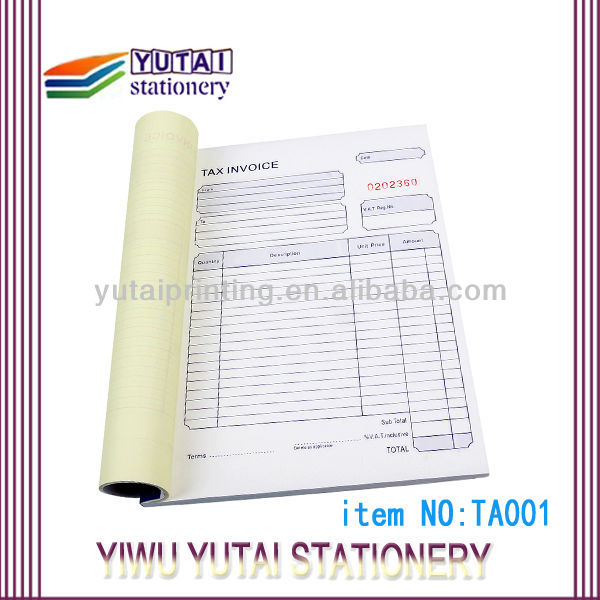 Sample Printing Contract For Bill Invoice Paper  Buy Sample