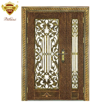 Luxury Style Metal Grilles Inserts Wrought Iron Door HL-J43