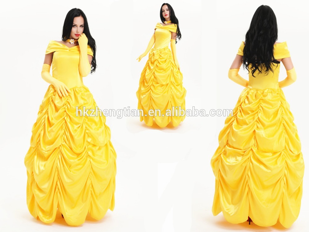 Walson Ladies Long dress Beauty and the Beast Bella Princess bella Fancy Dress Costume Outfit Halloween Costume