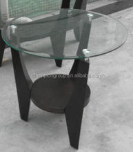 Coffee table with round glass top