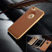 for iPhone 6 bumper case, Leather Back phone Case With Aluminum Bumper