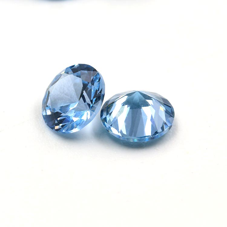hot sale synthetic round shape blue spinel gemstones