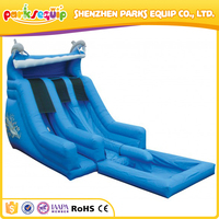 Beach rental safty inflatable dolphin water slide kids play