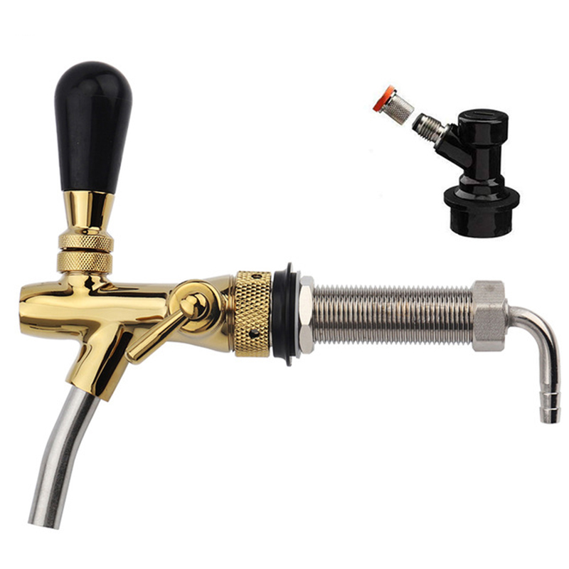 Multifunction Adjustable Beer Tap Faucet , Chrome Plating Beer Shank 4'' with Flow Control Liquid Ball Lock Post