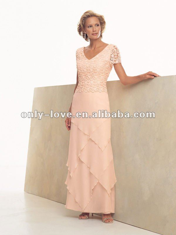 2012 New Fashion Custom Made short sleeve mother of bride dress OLM008