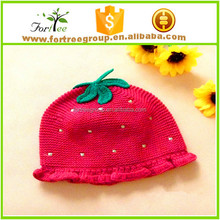 hot sale knitted combed cotton baby hats cute children crochet hats