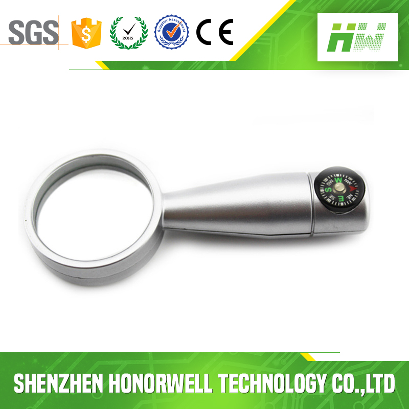 Metal Magnifying Glass 4GB USB Memory Stick Logo With Compass