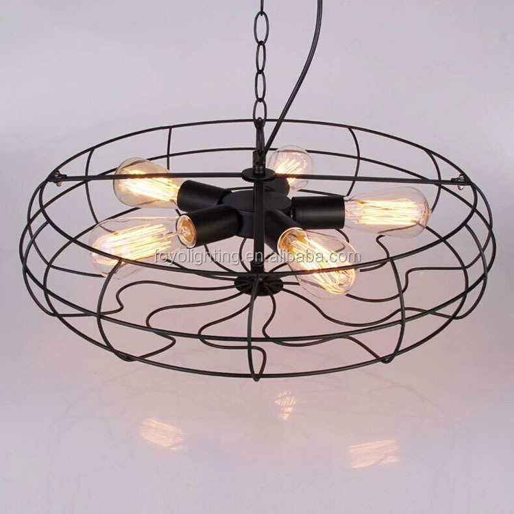 Black Iron Hanging lights/Chandelier with Industrial Vintage Style Pendant lamp