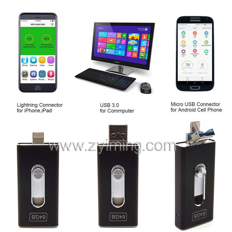 Zyiming Metal wholesale custom bulk mobile phone usb flash drive,usb flash drive 8gb,otg usb flash drive for iphone