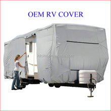 tailored travel trailer RV cover, OEM water-repellent breathable UV protection caravan cover, customized tourist trailer cover
