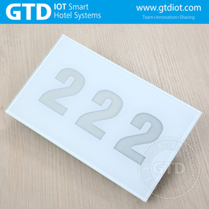 220V AC white tempered Glass hotel room numbers sign doorplate