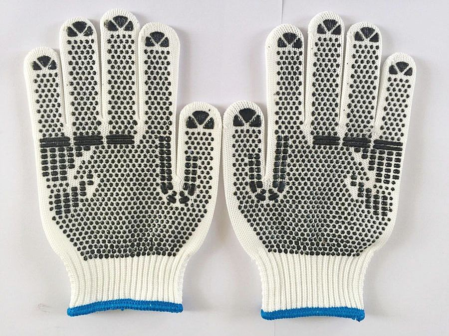 Cheapest Hot Sale 10 gauge PVC Dotted Gloves ,Point plastic gloves