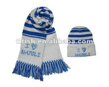 charm winter hat and scarf set , football sport knitted set