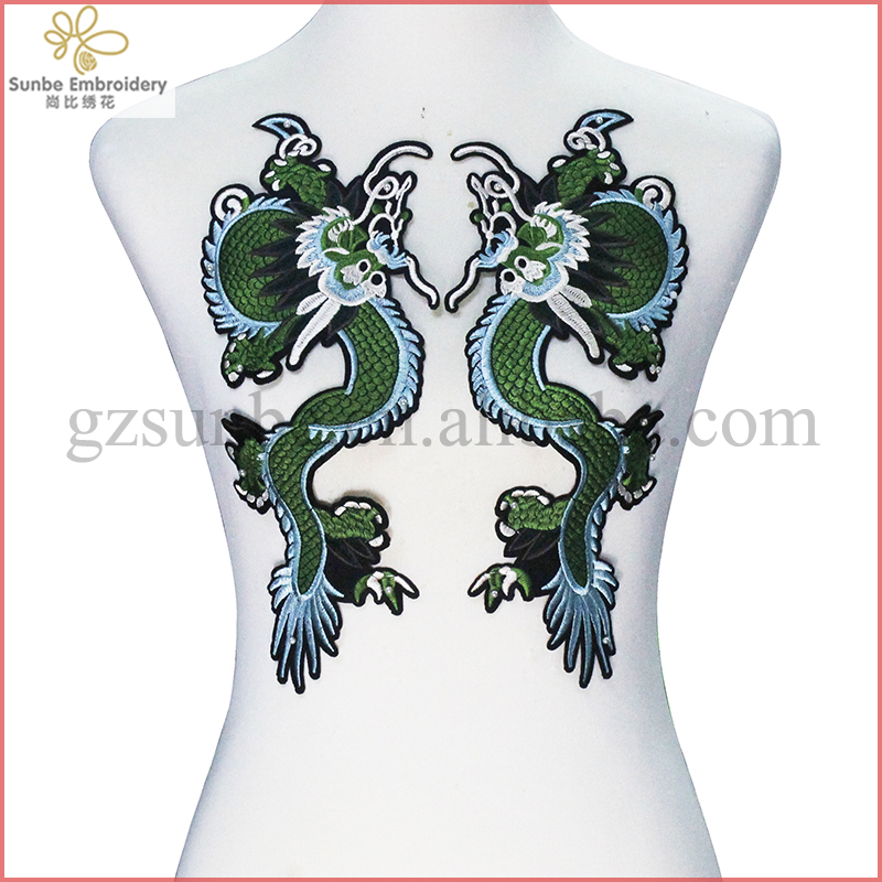 Green Dragon Patches <strong>Iron</strong> on Sticker Embroidery Applique Fabric Patches Garment Decorated Sewing Supplies can be customized