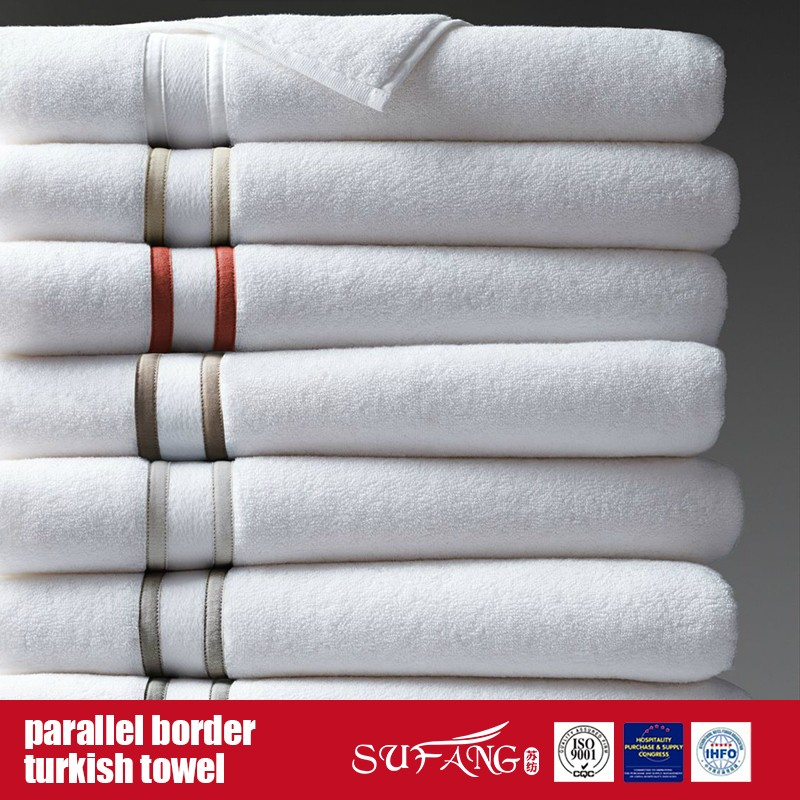 100%Cotton Parallel Border Terry Hotel Towel and Linen