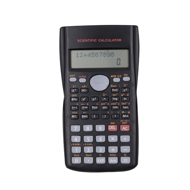 Student Using 2-Line Scientific Calculator with Cover
