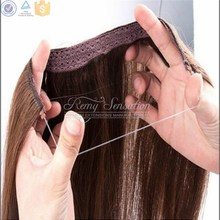Wholesale halo ring hair extension double drawn balayage colour fish wire hairpieces