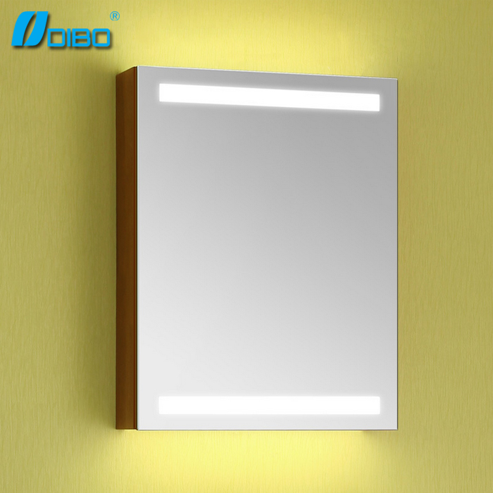 Oak solid wooden bathroom mirror cabinet with led light for Where can i buy bathroom mirrors