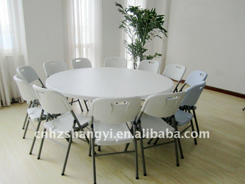 6ft folding round dinner table and chairs